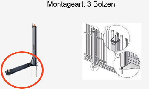 Freitragendes Schiebetor Montageart Drei Bolzen